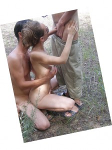 Outdoor hardcore cuckold threesome with a cute whore!